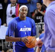Dwight Howard during an NBA All Star team practice at Orange County Convention Center on Saturday.