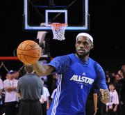 LeBron James of the Miami Heat during an NBA All Star team practice at Orange County Convention Center on Saturday.