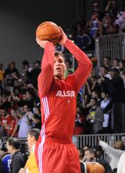 Blake Griffin of the LA Clippers during an NBA All Star team practice at Orange County Convention Center on Saturday.