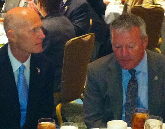 Florida Gov. Rick Scott (seen here with Orlando Mayor Buddy Dyer) vowed to back efforts to finance an Orlando Major League Soccer stadium with state tax rebates during a meeting of the Tiger Bay Club Feb. 8.