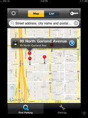 Central Parking is an iPhone app, so it looks bitmappy when expanded to fill an iPad screen.