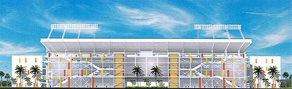 An architectural rendering of different options for the planned renovation of the Citrus Bowl stadium
