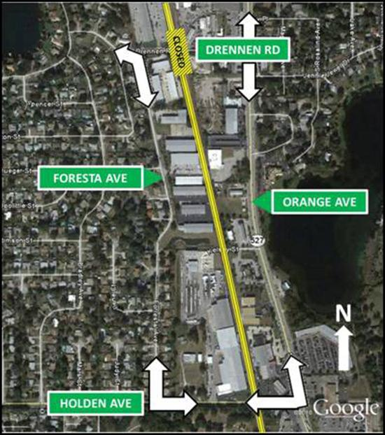 SunRail construction crews will close Drennen Road at the railroad crossing in Orlando from Tuesday, Feb. 5 at 7 a.m. to Thursday, Feb. 7 at 7 p.m.