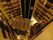 A look into the lobby from the top floor of the new 300-room, 11-story Embassy Suites Orlando — Lake Buena Vista South.