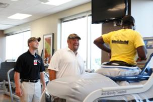Larry the Cable Guy, whose real name is Dan Whitney, visited with Orlando Health employees and patients as he toured the newly opened Wyatt Whitney Hip & Orthopedic Institute, which is named after his five-year-old son.