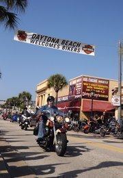 Banners along Main Street welcome bikers to the 70th annual Daytona Beach Bike Week.