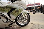 A decorated motorcycle parked on Main Street in Daytona Beach. The 70th annual Daytona Beach Bike Week is expected to draw more than a half-million people during a period of 10 days.