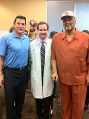 Patrick O'Hara (left), former Tampa Bay Buccaneers quarterback; Dr. Jay Albright (middle); Louis Ross (right), former NFL player.