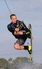 Landa hits the wakeboard to stay sharp
