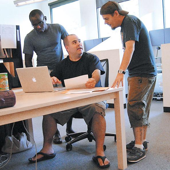 Push employees (L-R) Theo Sanga, Joe Ciaramella and Jordan Damato enjoy their firm's casual office atmosphere, which allows them to wear shorts in the summer.