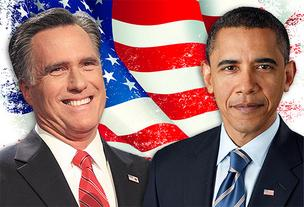 Republican candidate Mitt Romney (left) and President Barack Obama (right).