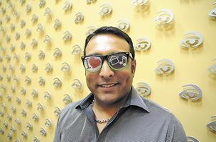 Sanjay Srinivasan wears a pair of novelty eyewear made by his company, Global Enterprises.