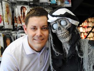Halloween Megastore's Brandon Booth and friend