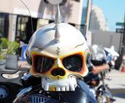 A custom motorcycle helmet is among many unique accessories on display during Biketoberfest 2012.