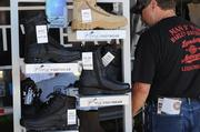 All manner of biker accessories, including footwear, is available at outdoor vendors during Biketoberfest 2012.