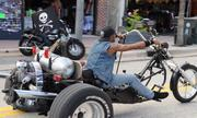 Outrageous custom choppers are a frequent site along Main Street during Biketoberfest 2012.