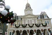 City Hall and other buildings along Main Street USA share the holiday decor.