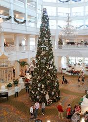 The lobby of the Grand Floridian Resort rivals Main Street USA for its Christmas decor.