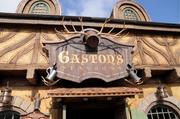 Detail of the entry to Gaston's Tavern inside the Enchanted Forest.
