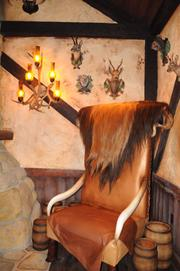 Hunting trophies make up the dining room decor atGaston's Tavern.