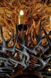Detail of the antler chandelier atGaston's Tavern.