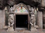 Sculptures and stained glass make a grand entrance to the Be Our Guest restaurant.