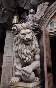 Detail of the entrance to the Be Our Guest restaurant.