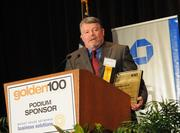 Edward Alden of Greenway Automotive gives a short speech after accepting the award for the No. 1 company on the Golden 100 Ultimate Top 10 List.