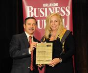 Cheryl Walker Wayson accepting the second placeFast-Track Fiveaward for General Projection Systems Inc.