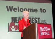 Orlando Business Journal publisher Ann Sonntag addresses the audience at the start of the awards event.