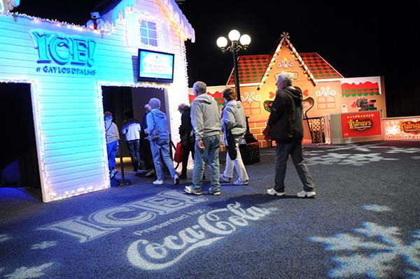 Guests walk through the festive entry to the ICE exhibit at Gaylord Palms.