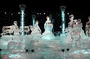 The traditional nativity scene sculpted in clear ice stands at the end of the themed sections of ICE at Gaylord Palms Resort.