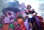 Sugar skulls, fog effects and flowers highlight the Mexican Day of the Dead float, along with a stilt walker who will accompany the float.