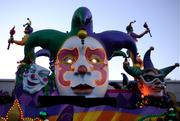 As the sun goes down, the floats are powered up.