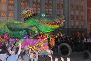 The giant alligator king brings up the rear and marks the end of the parade, but not the end of the evening.
