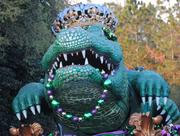 A giant alligator float is dressed to impress.