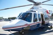 An AgustaWestland helicopter was outside on display.