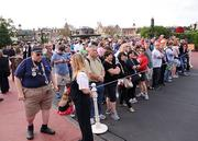 Meanwhile, at Cinderella Castle, the crowd is in place.
