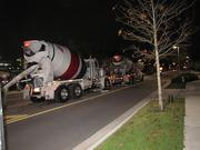 It took 240 trucks worth of concrete, each with about 10 cubic yards of concrete, to lay the foundation.