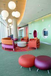 Common areas are colorful and comfortable.