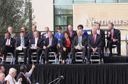 The grandstand was filled with local and state officials for the Nemours Children's Hospital dedication ceremony at Lake Nona.