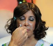 Jessica Torgas of Universal Orlando gets a Who makeover courtesy of makeup artist Evan Moore.