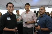 From left,  Kevin Chinn, Jacob Noh and Sean Oritz of HMAA at PBN's Pau Hana at The Modern Honolulu.
