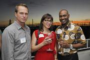 From left, Mark Lloyd of Open Table Inc., Kelli Rodrigues, Diamond Girl Hawaii and Keenan Porter, Chamber of Commerce of Hawaii at PBN's Pau Hana at The Modern Honolulu.