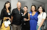 Malie Moran, Pacific Business News Publisher Bob Charlet, Ashley Kierkiewicz, Maile Thompson and Janjeera Hail at PBN's Pau Hana at The Modern Honolulu.