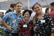 From left, Duane Shimogawa of Pacific Business News, Laura Noda of Reusables For Life and Lindsay McClellan of Becker Communications at PBN's Pau Hana at The Modern Honolulu.