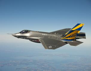 The U.S. Navy variant of the F-35 Joint Strike Fighter aircraft is seen in this 2011 photo conducting a test flight near Naval Air Station Patuxent River in Maryland. Despite the military's shifting its focus to the Pacific, the Pentagon has no plans to b