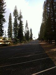 A fairly nice day along the main stretch of Lanai City on the Hawaiian island of Lanai.
