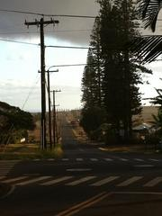 The view of Kaumalapau Highway leading to the pier and airport on the Hawaiian island of Lanai.