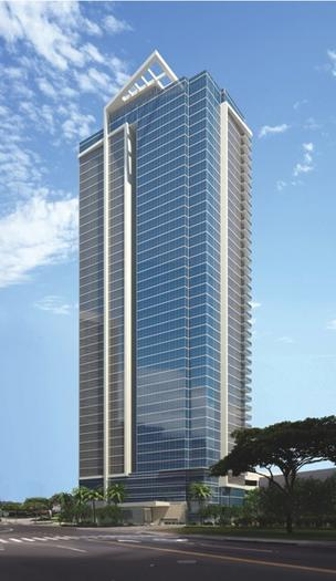 Alexander & Baldwin said 274 of the 341 units at the Waihonua condominium high-rise under construction in Honolulu, seen here in this rendering, have been pre-sold.